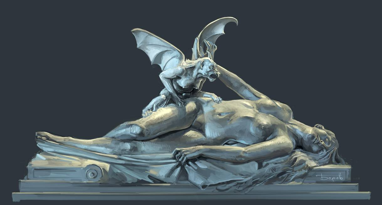 Sculpture of an incubus on top of a sleeping women.