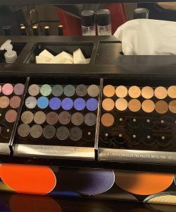 An image of Mac eyeshadow colours in Selfridges, showing a variety of colours they have in stock.