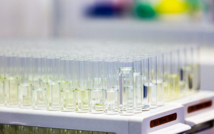 Close-up shot of a number of sample vials