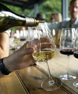 close up of a person pouring white wine from the bottle to the glass