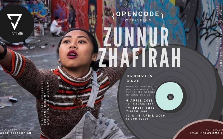 Publicity image for Groove and Gaze with Zunnur striking a pose next to informative text