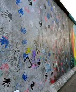 Remains of parts of the Berlin Wall that have been painted on by different artists