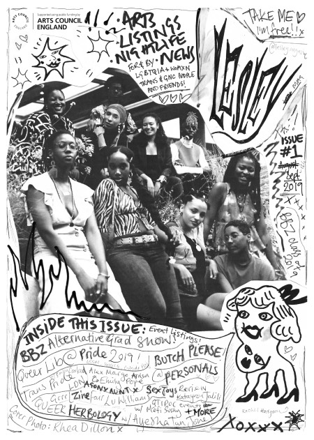 The black and white cover of Lesley magazine depicting a group of women on the front and a hand drawn image of a face.