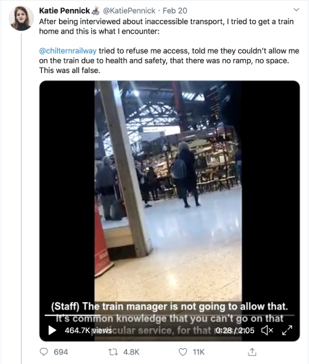 """Screenshot of one of Katie Pinnick's tweets detailing her struggle to board the Chiltern Railways train featuring a video of her ordeal. She said: """"@chilternrailway tried to refuse me access, told me they couldn't allow me on the train due to health and safety, that there was no ramp, no space. This was all false."""""""