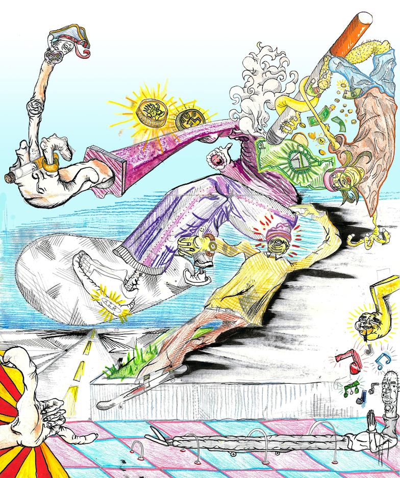 Illustration of multiple disfigured skateboarders.