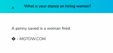 "Screenshot from the official MGTOW website. MGTOWers' view on female professionals is explained through the following sentence: ""a penny saved is a woman fired""."