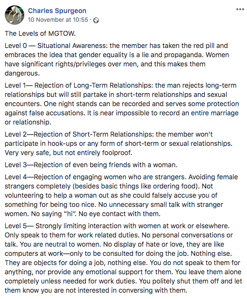 Screenshot of a Facebook post giving an overview of the five different levels of MGTOW involvement. Level 0: the member has swallowed the red pill and is conscious of men's enslavement to women. Level 1: the member rejects marriage and long-term relationships. Level 2: the member abstains from sexual intercourse. Level 3: the member avoids friendship with the opposite sex. Level 4: the member avoids any contact with women that is not strictly necessary. Level 5: the member avoids all contacts with the opposite sex and drops out of society to live in complete isolation.