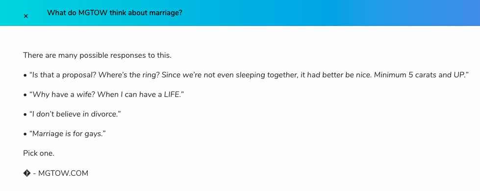 "Screenshot from the official MGTOW website. The image shows a number of comments openly deprecating marriage, including ""Marriage is for gays"" and ""Why have a wife when you can have a LIFE (sic)"". According to MGTOWers, women's inherent unfaithfulness and the anti-male bias of divorce and family courts have turned marriage into a ""foul and corrupt"" institution."