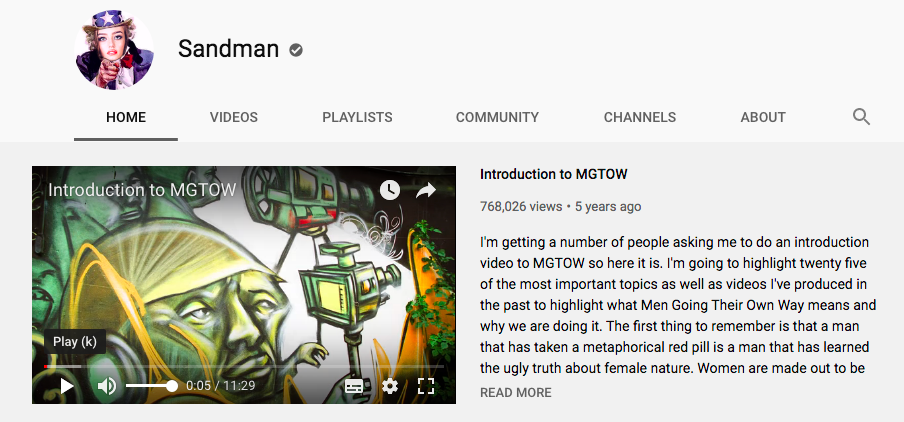 A screenshot of Sandman's YouTube page, including a screengrab of one of his first videos on MGTOW.