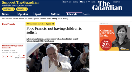 "A screenshot of an article from The Guardian titled ""Pope Francis: not having children is selfish"""