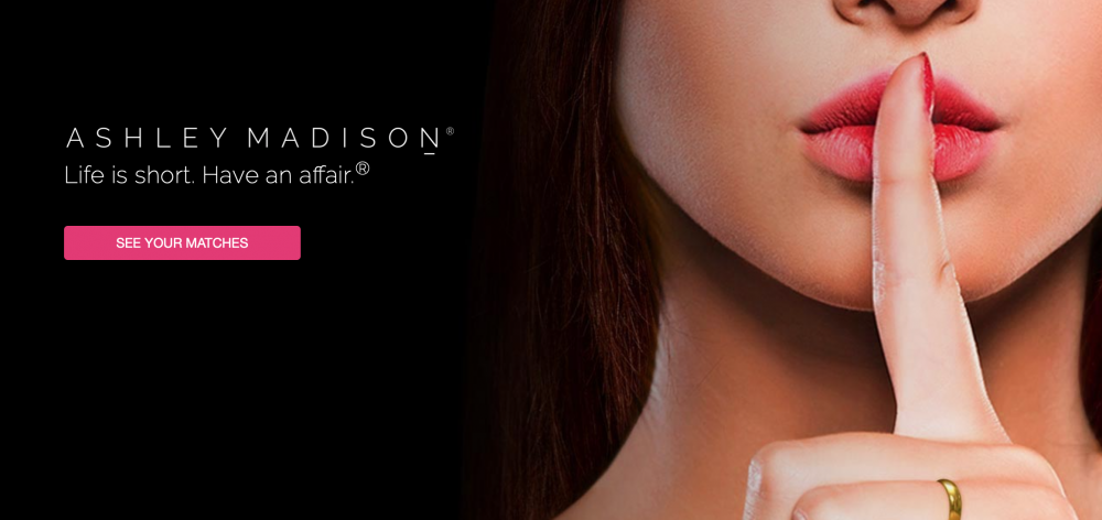 Ashley Madison home page, featuring a woman who has her finger in front of her mouth