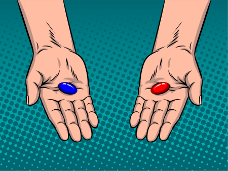 Illustration that shows two hands holding out a blue pill in the left hand and a red pill in the right hand. The juxtaposition of the blue pill and red pill imagery is a key concept of the MGTOW philosophy.