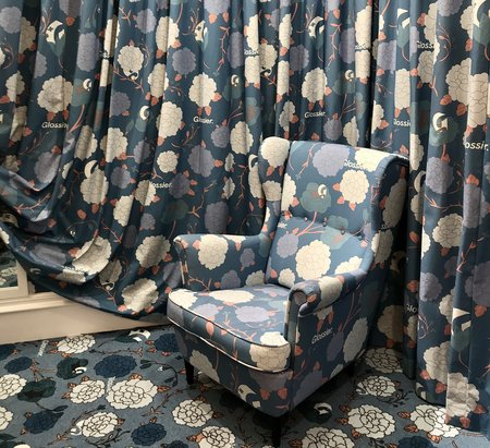 floral chair and curtains in Glossier London