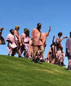 Rapper Kanye West and Gospel Choir performing at Coachella