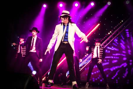 David Boakes on stage as Michael Jackson