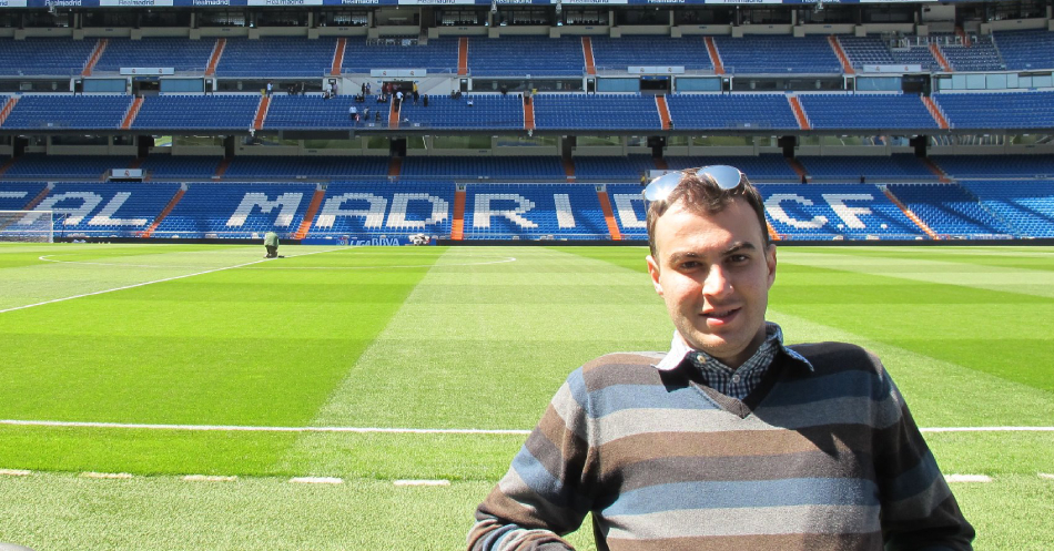 Iraqi PhD student Ahmed Sedeeq is captured on the pitch of the Santiago Bernabeu, the home stadium of Spanish football team Real Madrid.