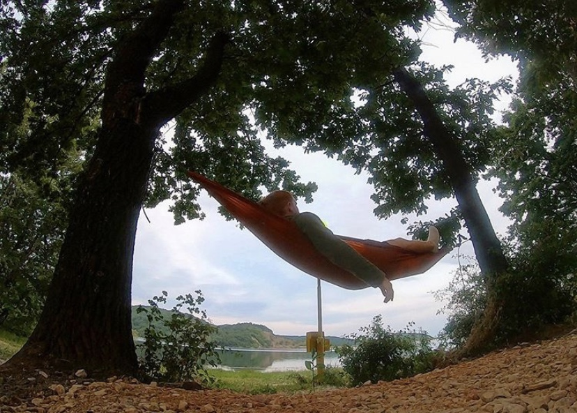 Relaxing in the hammock.