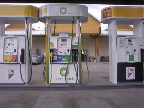 A petrol station offering ethanol enthused fuel.