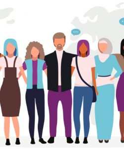 Ten stylised figures (3 males, 7 females) are standing side by side in front of a world map; they all have their arms wrapped around each other. Each figure belongs to a different ethnic group and has a different clothing style. The image represents multiracialism and multiculturalism.