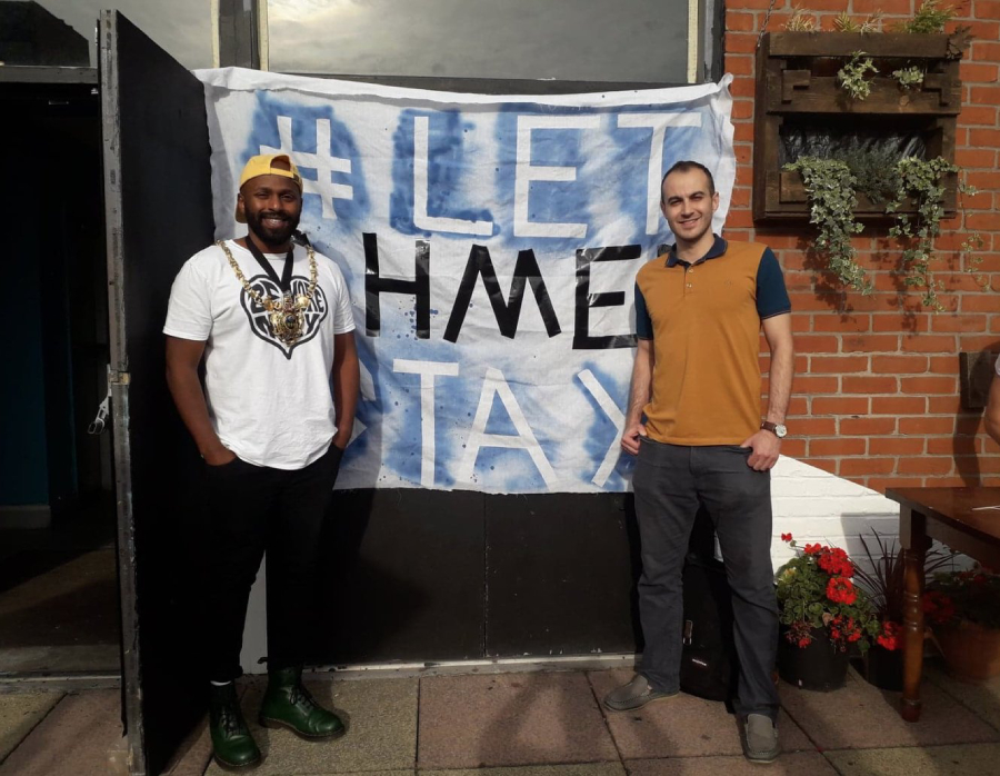 Iraqi PhD student Ahmed Sedeeq and the former Lord Mayor of Sheffield, Magid Magid, at a BBQ party held in August 2018 to raise funds for the #LetAhmedStay campaign.