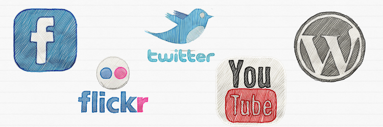 An illustration of social media logos, from left to right: Facebook, Flickr , Twitter, YouTube and Wordpress
