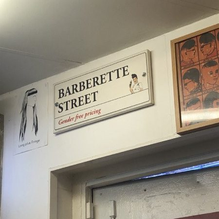 "A sign depicting the word ""Barberette Street."""
