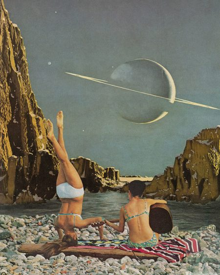 Collage of two women on the beach. One is doing a handstand and the other is playing the guitar.