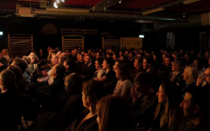 Crowd watching comedy show