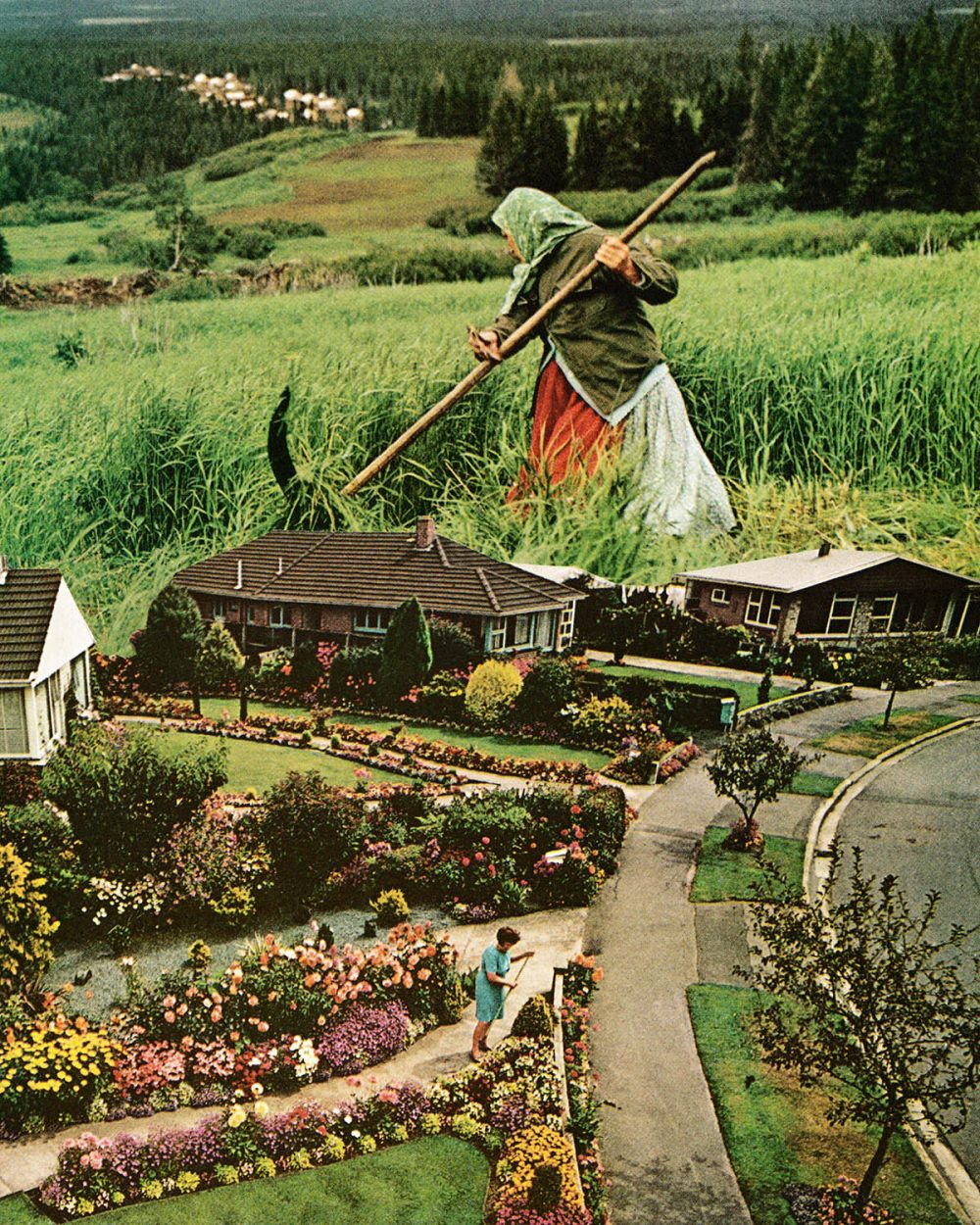 Collage by Karen Lynch featuring two women gardening. One of the women is miniature.