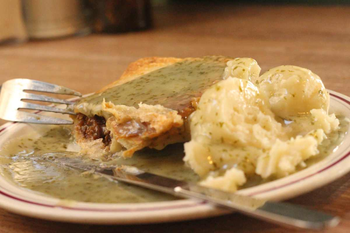 The Goddards Banks soya pie with creamy mash and liqueur