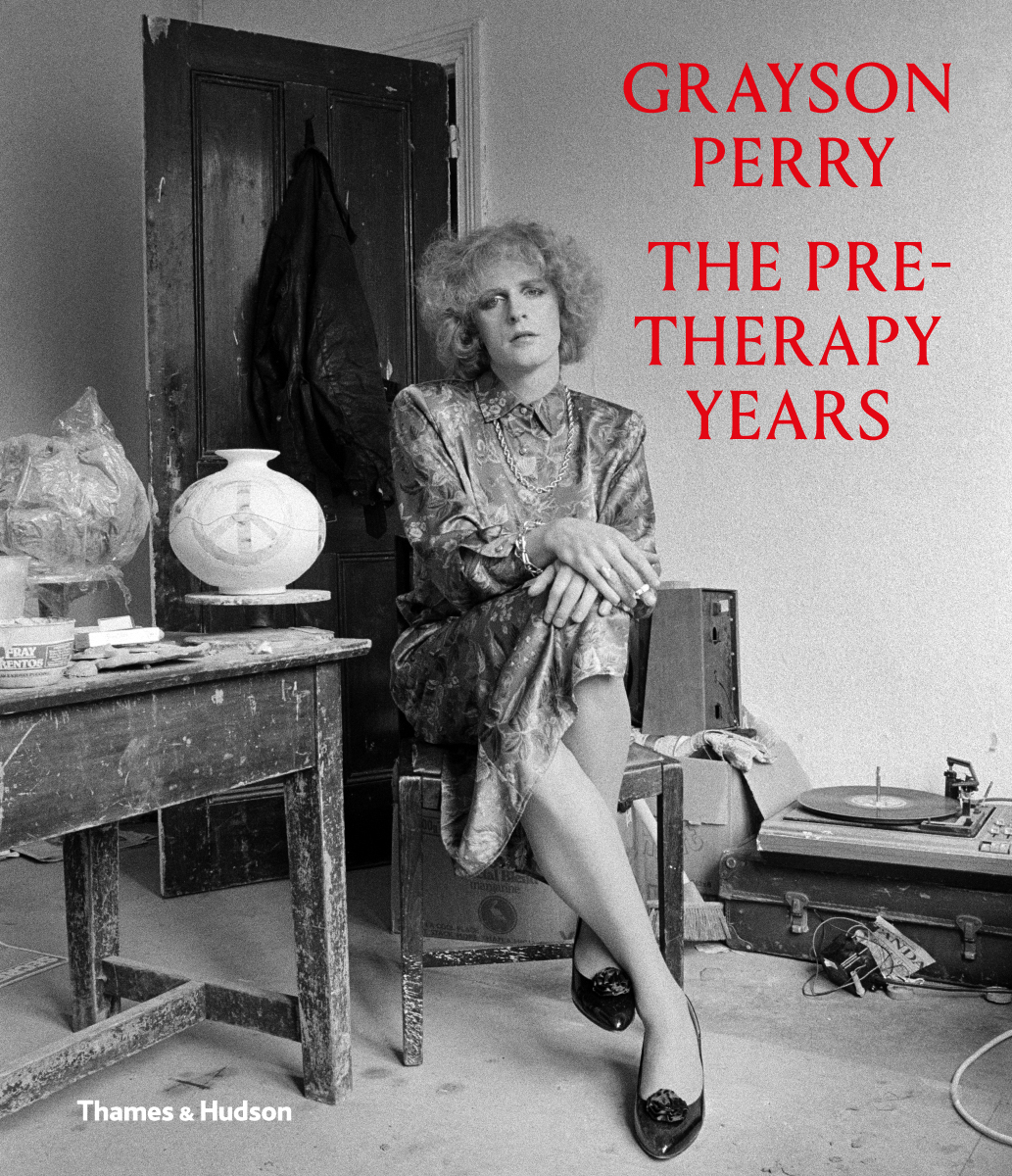 Poster of the exhibition showing Grayson Perry in 1988 dressed as a woman with the title of the exhibition overlayed