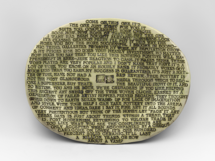 Plate covered with multiple lines of small text