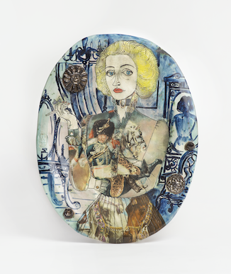 A plate with an illustration of 'Claire' Grayson Perry's female alter-ego, dressed in a coat with a soldier on it