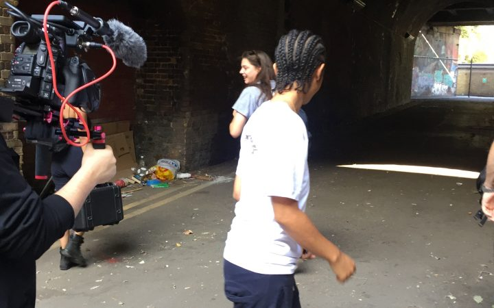 On set of From, Jordan, main character in action