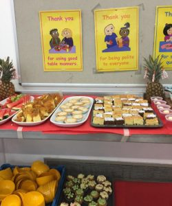 Healthy food prepared by Chartwells on display at a school function