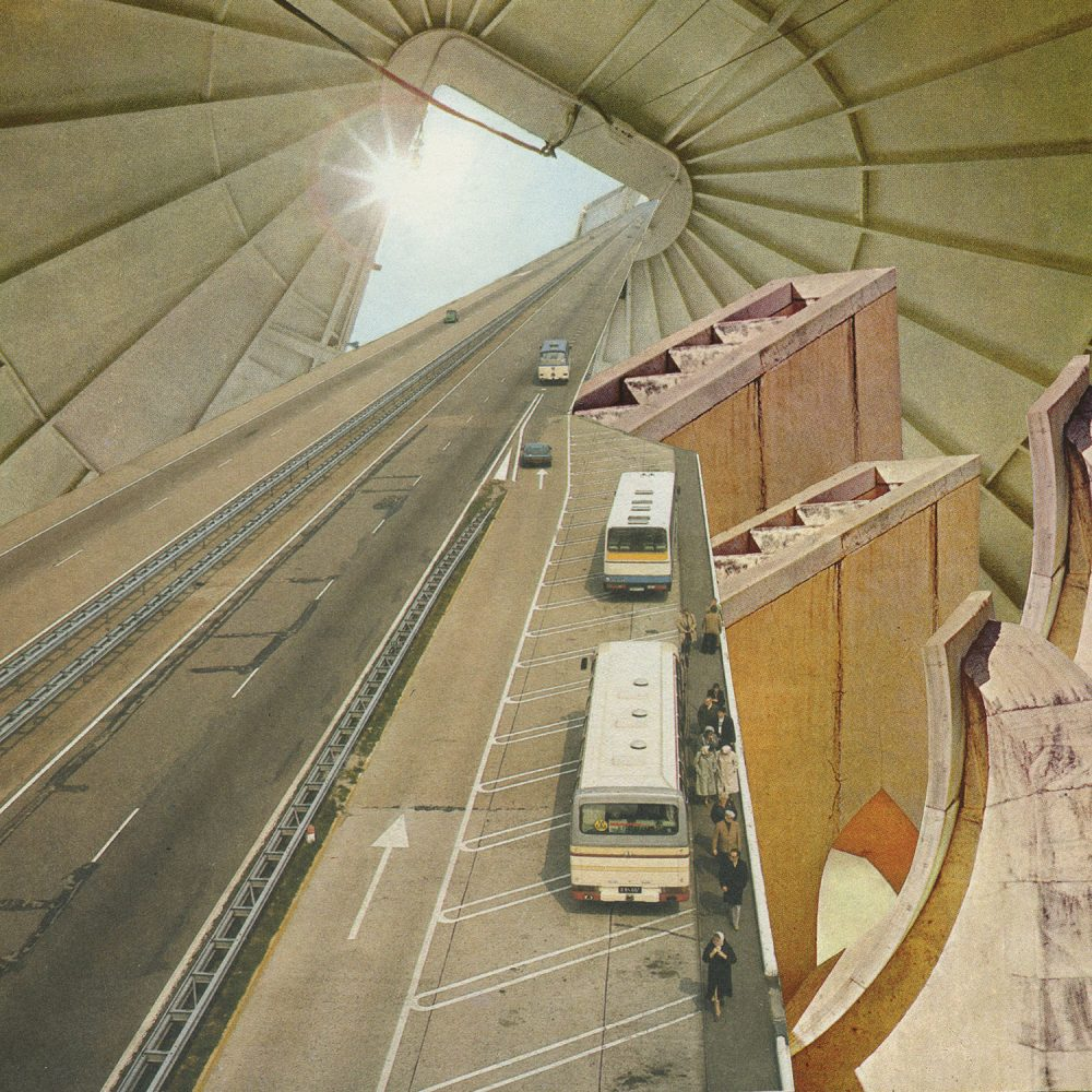 Surrealist collage by Karen Lynch of a motor way