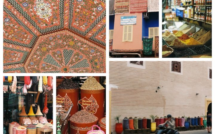 Snap shots of the streets of Morocco, along with close up of colourful spices