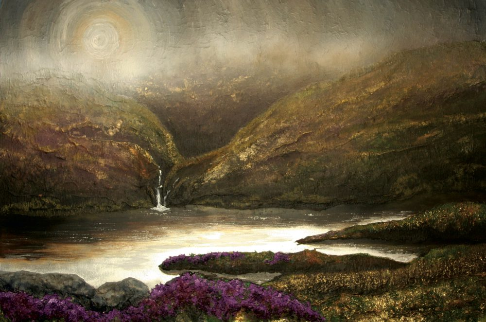 Landscape painting of Northumberland lake, the landscape is dark green with some purple flowers in the bottom left.