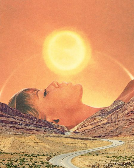 Surrealist collage by Karen Lynch depicting a woman kissing the sun