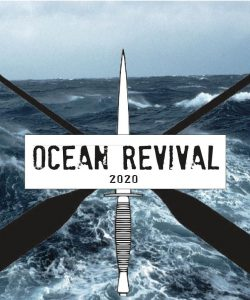 The Ocean Revival 2020 logo featuring two oars in a cross with a sword through the centre on a background of the ocean/waves.