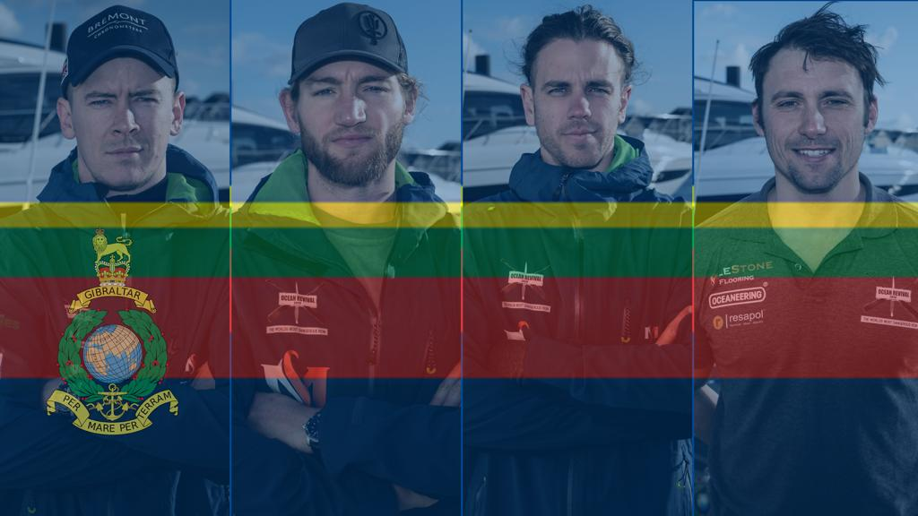The Ocean Revival 2020 team with the Royal Marine banner overlay. From left to right: Dom, Ian, Joel and Matt.