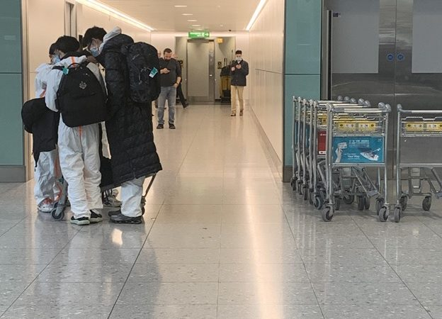 A family at Heathrow Airport