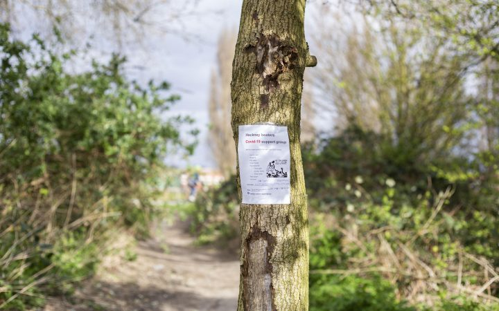 A signpost offering support for those living in canal boats in Hackney