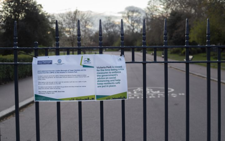 The locked gates in Victoria Park after it closed this week