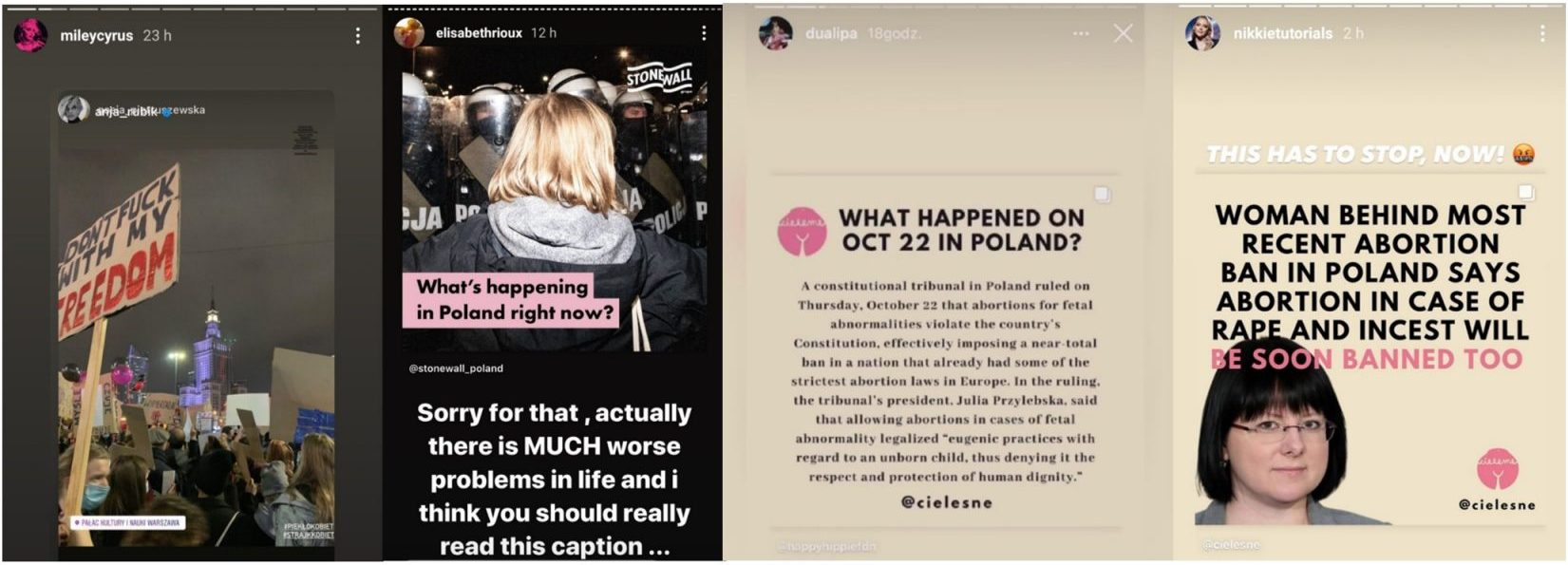 Screenshots of supportive Insta stories from foreign celebrities