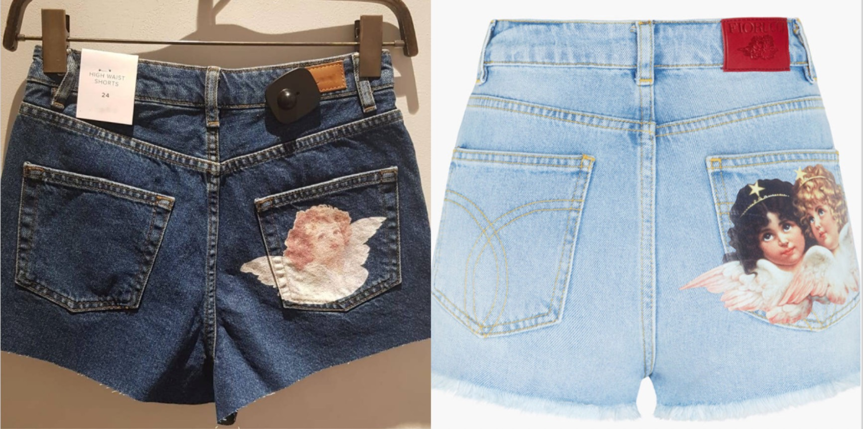 Left image shows dark denim shorts with an angel printed on the right pocket, compared to the image on the right which features the original design by Fiorucci, light denim shorts with angels printed on the right pocket.