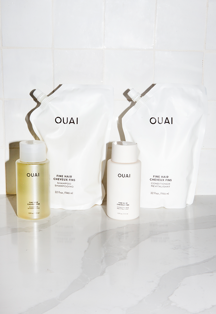 Ouai offers refill pouches for their haircare products