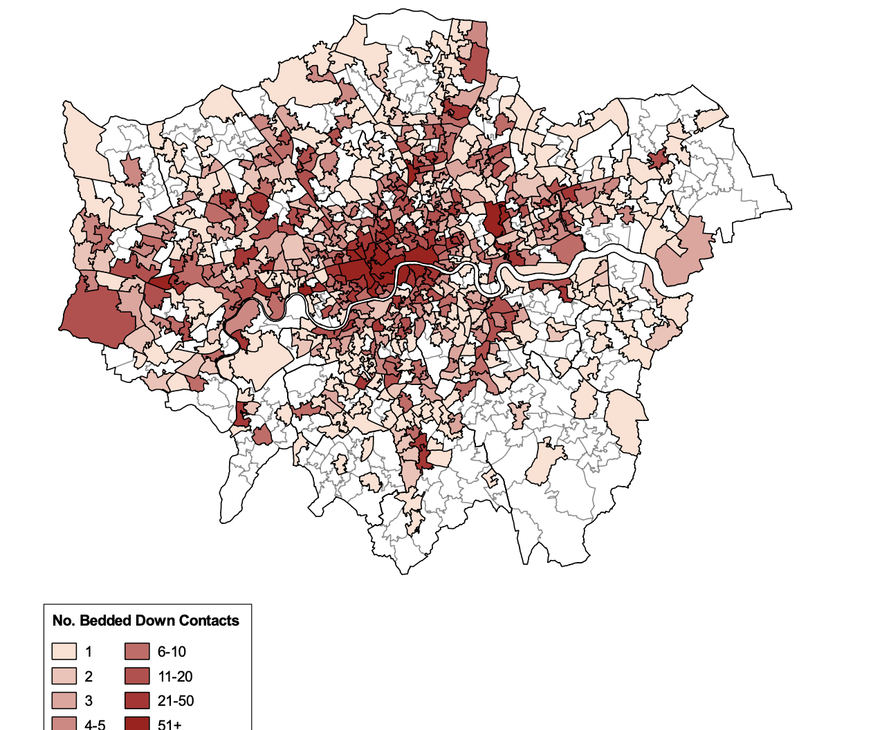 A map of London to show the distribution of recorded rough sleepers from July to September 2020