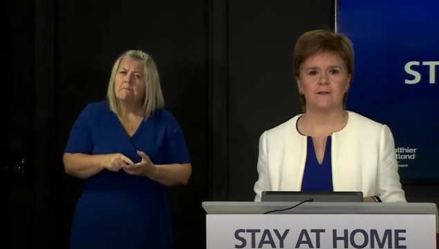 Nicola Sturgeon briefing with sign language interpreter