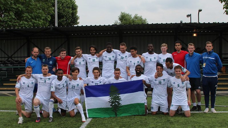 The cascadia football team pose for a photo at the CONIFA world cup
